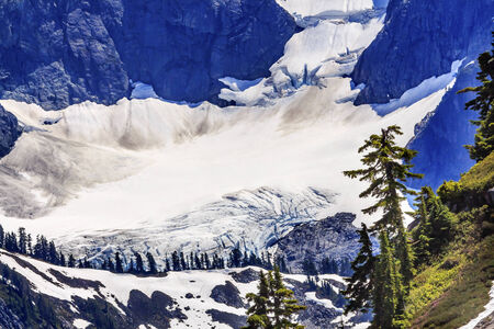 evergreens: Mount Shuksan Glacier Evergreens Artist Point Mount Baker Highway Snow Mountain Washington State Pacific Northwest Stock Photo