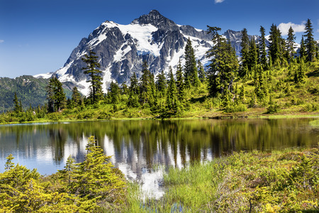 Picture Lake Evergreens Mount Shuksan Mount Baker Highway Snow Mountain Trees Washington Pacific Northwest USA Stock Photo