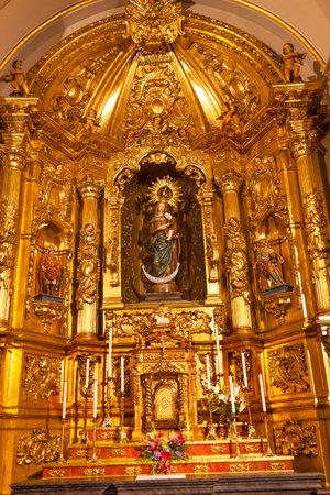 san isidro: Basilica Golden Altar Mary Jesus Statue Santa Iglesia Collegiata de San Isidro Madrid Spain. Named after Patron Saint of Madrid, Saint Isidore, Church was created in 1651
