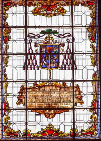 san isidro: Stained Glass Coat of Arms Basilica Santa Iglesia Collegiata de San Isidro Madrid Spain. Named after Patron Saint of Madrid, Saint Isidore, Church was created in 1651