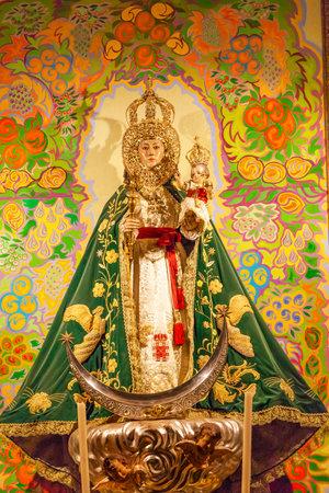 san isidro: Mary Baby Jesus Crowns Statue Basilica Santa Iglesia Collegiata de San Isidro Madrid Spain. Named after Patron Saint of Madrid, Saint Isidore, Church was created in 1651