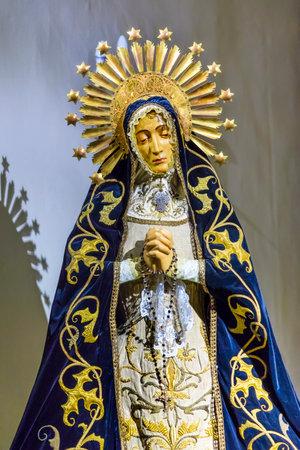 Old Mary Crown Statue Basilica Santa Iglesia Collegiata de San Isidro Madrid Spain. Named after Patron Saint of Madrid, Saint Isidore, Church was created in 1651