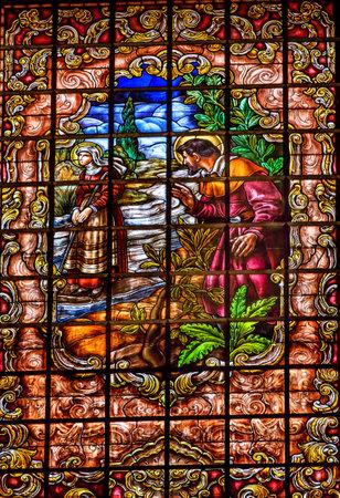 isidro: Stained Glass Peter Denial Basilica Santa Iglesia Collegiata de San Isidro Madrid Spain. Named after Patron Saint of Madrid, Saint Isidore, Church was created in 1651