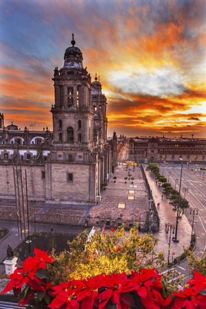spiritual architecture: Metropolitan Cathedral Christmas in Zocalo, Center of Mexico City Mexico Sunrise