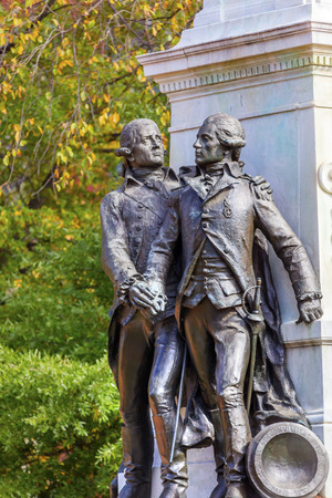 lafayette: General Marquis de Lafayette Statue Lafayette Park Autumn Washington DC. In American Revolution General Lafayette was an officer in the American Revolution and personal friend of General Washington.  Statue was dedicated in 1891 as a reaffirmation of Fren Stock Photo