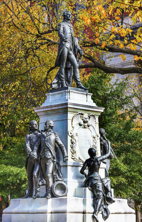 american revolution: General Marquis de Lafayette Statue Lafayette Park Autumn Washington DC. In American Revolution General Lafayette was an officer in the American Revolution and personal friend of General Washington.  Statue was dedicated in 1891 as a reaffirmation of Fren Stock Photo