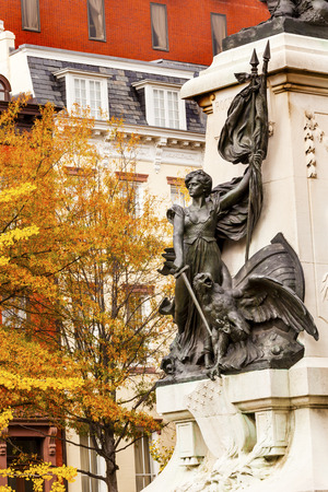 american revolution: Lady Liberty General Rochambeau Statue Lafayette Park Autumn Washington DC. In American Revolution General Rochambeau was the head of the French Army, who worked with Washington in the American Revolution.  Statue was dedicated in 1902 by President Theodo