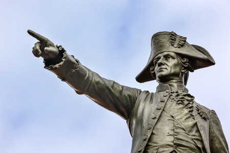 statue: General Rochambeau Statue Lafayette Park Autumn Washington DC. In American Revolution General Rochambeau was the head of the French Army, who worked with Washington in the American Revolution.  Statue was dedicated in 1902 as a reaffirmation of French Ame