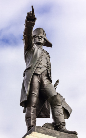 theodore roosevelt: General Rochambeau Statue Lafayette Park Autumn Washington DC. In American Revolution General Rochambeau was the head of the French Army, who worked with Washington in the American Revolution.  Statue was dedicated in 1902 by President Theodore Roosevelt  Stock Photo