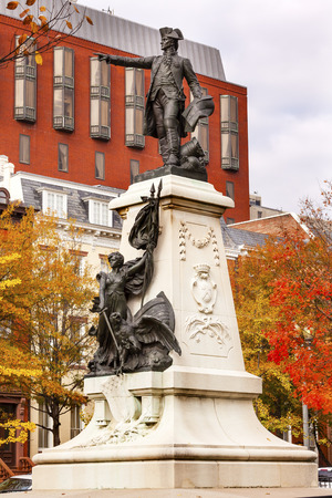 american revolution: General Rochambeau Statue Lafayette Park Autumn Washington DC. In American Revolution General Rochambeau was the head of the French Army, who worked with Washington in the American Revolution.  Statue was dedicated in 1902 as a reaffirmation of French Ame