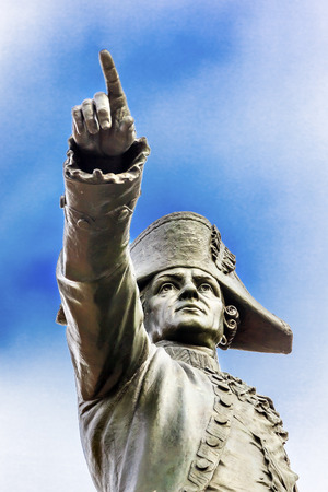american revolution: General Rochambeau Pointing Statue Lafayette Park Autumn Washington DC. In American Revolution General Rochambeau was the head of the French Army, who worked with Washington in the American Revolution.  Statue was dedicated in 1902 as a reaffirmation of F Stock Photo