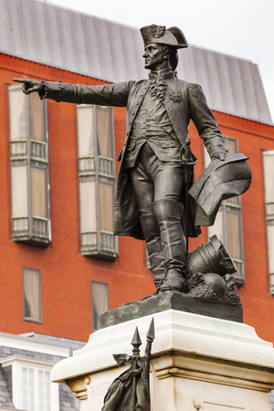 worked: General Rochambeau Statue Lafayette Park Autumn Washington DC. In American Revolution General Rochambeau was the head of the French Army, who worked with Washington in the American Revolution.  Statue was dedicated in 1902 as a reaffirmation of French Ame