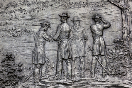 generals: General William Tecumseh Sherman Bronze Bas Relief Battle of Atlanta Civil War Memorial Pennsylvania Avenue Washington DC.  Statue dedicated 1903, artist Carl Rohl-Smith. Located in back of Treasury where President Andrew Johnson and Ulysses Grant reviewe