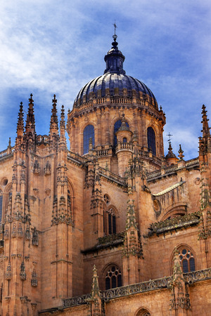 ferdinand: Stone Dome New Salamanca Cathedral Spain.  The New and Old Cathedrals in Salamanca are right next to each other.  New Cathedral was built from 1513 to 1733 and commissioned by Ferdinand V of Castile, Spain. Stock Photo