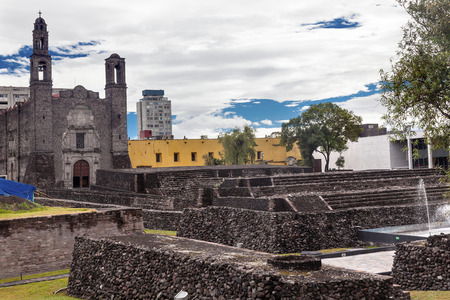 indian artifacts: Plaza of the Three Cultures, Plaza de las Tres Culturas, Ancient Aztec City of Tlatelolco, where Aztecs staged last battle against Cortez in Mexico City, Mexico.