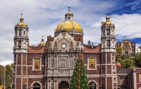 cathedrals: Old Basilica Christmas Tree Shrine of the Guadalupe Mexico City Mexico.