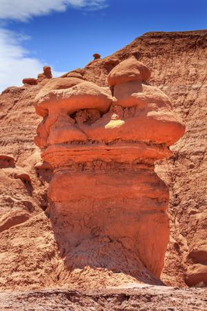 goblins: Goblin Apartment House Mushroom Shaped Hoodoos Goblin Valley State Park Rock Canyon San Rafael Desert Utah USA Southwest. Thousands of rock hoodoos mushroom shaped like little goblins and munchkins. Sandstone on top erosion resistant rock.  Goblins look l