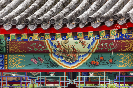 city park pavilion: Red Pavilion Decorations  Temple of Sun City Park, Beijing, China Green Trees