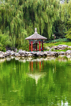 city park pavilion: Red Pavilion Lotus Pads Garden Temple of Sun City Park, Beijing, China Willow Green Trees Stock Photo