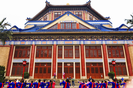 yat: Folk Dancers Sun Yat-Sen Memorial Guangzhou City Guangdong Province China.  Sun Yat-Sen Editorial
