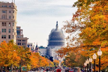 us capitol: US Capitol South Side Construction Congress Pennsylvania Avenue Autumn Fall Capital City Washington DC