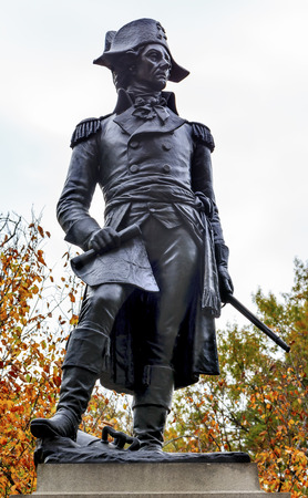 american revolution: Andrzej Kosciusko Statue, American Revolutionary Hero, Later Polish, Lithuanian Belarusian National Hero, Lafayette Park, Fall, Washington DC.  In American Revolution Kosciuszko was the head engineer in the Continental Army.  Statue erected in 1910 by Pol Editorial