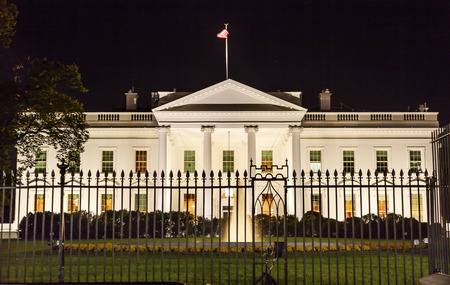 night view: Presidential White House Fence Fountain Pennsylvania Ave Night Washington DC