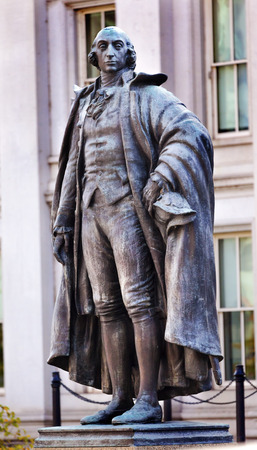 treasurer: Albert Gallatin Statue US Treasury Department Washington DC Longest running US Treasurer 1801 to 1814 under Presidents Jefferson and Madison Also founded New York University.  Bronze Statue by James Earle Fraser.  Dedicated 1947. Editorial