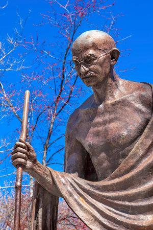mahatma: Mahatma Mohandas Gandhi Public Statue Front of Indian Embassy Embassy Row Massachusetts Ave Washington DC.  Gandhi is walking to sea on salt march.  Dedicated September 2000,  Artist Gautam Pal