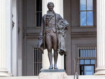 US Treasury Department Alexander Hamilton Statue Washington DC James Fraser Statue dedicated 1923.  One of the founding fathers of the United States, Alexander Hamilton was the first Secretary of the Treasury in George Washington