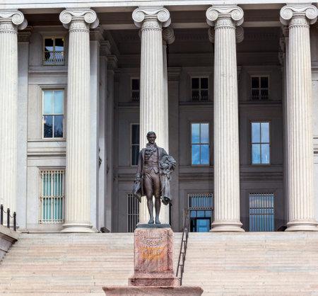 founding fathers: US Treasury Department Alexander Hamilton Statue Washington DC James Fraser Statue dedicated 1923.  One of the founding fathers of the United States, Alexander Hamilton was the first Secretary of the Treasury in George Washington