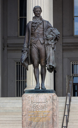 american revolution: US Treasury Department Alexander Hamilton Statue Washington DC James Fraser Statue dedicated 1923.  One of the founding fathers of the United States, Alexander Hamilton was the first Secretary of the Treasury in George Washington