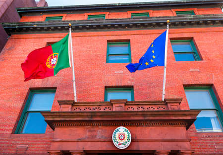 ec: Portugal Embassy Seal EC and Portugeuse Flags Symbol Embassy Row Massachusetts Avenue Washington DC
