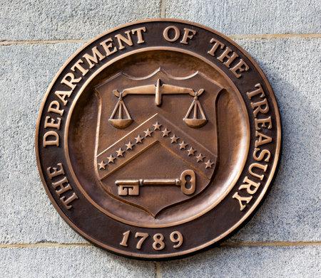 Present Bronze Seal Symbool Amerikaanse ministerie van Financiën heeft in 1968. Dit zegel is gebruikt sinds 1968 tot heden.
