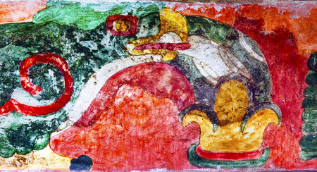 ancient bird: Ancient Bird Colorful Painting Mural Wall Indian Ruins at Teotihuacan Mexico City Mexico.  Palace of Quetzalpapaloli.  Ancient ruins date back to 100 to 750AD. Stock Photo