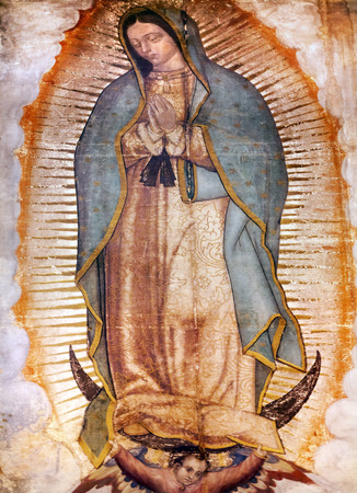 new mexico: Original Virgin Mary Guadalupe Painting which was revealed by Indian Peasant Juan Diego in 1531 to Catholic Bishop. New Shrine of the Guadalupe, Mexico City Mexico Editorial