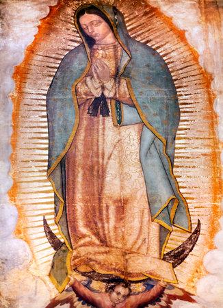 Originale Pittura Maria Guadalupe che è stato rivelato da contadino indiano Juan Diego nel 1531 al vescovo cattolico. Nuovo Santuario di Guadalupe, Città del Messico