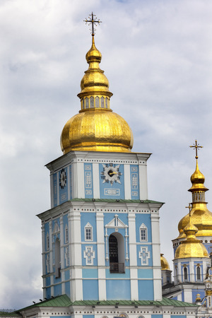 saint michael: Saint Michael Monastery Cathedral Steeples Spires Golden Domes Kiev Ukraine.  Saint Michaels is a functioning Greek Orthordox Monasatery in Kiev.