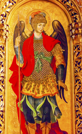 saint michael: Saint Michael Golden Screen Icon Ancient Basilica Saint Michael Monastery Cathedral Kiev Ukraine.  Saint Michaels is a functioning Greek Orthordox Monasatery in Kiev.  The original monastery was created in the 1100s but was destroyed by the Soviet Union