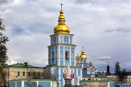 steeples: Saint Michael Monastery Cathedral Steeples Spires Tower Golden Dome Facade Kiev Ukraine.  Saint Michaels is a functioning Greek Orthordox Monasatery in Kiev.
