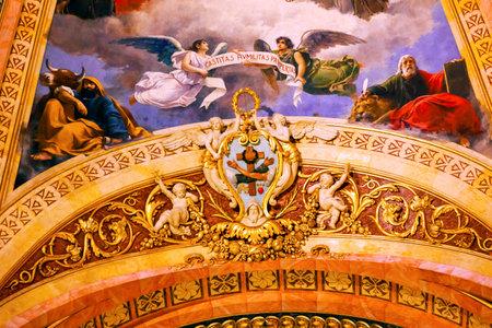 half dome: Symbol Dome Frescos San Francisco el Grande Royal Basilica Madrid Spain. Basilica designed in the second half of 1700s completed by Francisco Sabatini. Editorial