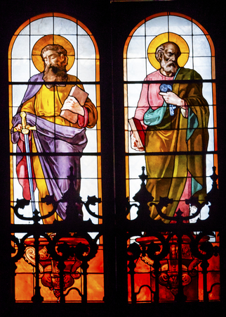 disciples: Disciples James Peter Stained Glass San Francisco el Grande Royal Basilica Madrid Spain. Basilica designed in the second half of 1700s completed by Francisco Sabatini.
