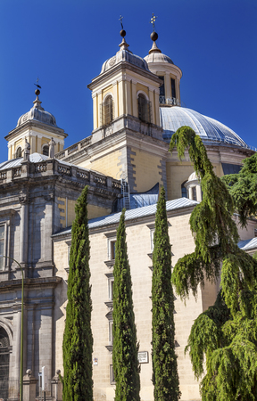 steeples: San Francisco el Grande Royal Basilica Steeples Outside Madrid Spain. Basilica designed in the second half of 1700s completed by Francisco Sabatini. Stock Photo