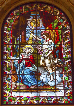 gabriel: Anunciation Archangel Gabriel Tell Mary She Will Have Jesus  Stained Glass San Francisco el Grande Royal Basilica Madrid Spain. Basilica designed in the second half of 1700s completed by Francisco Sabatini. Editorial