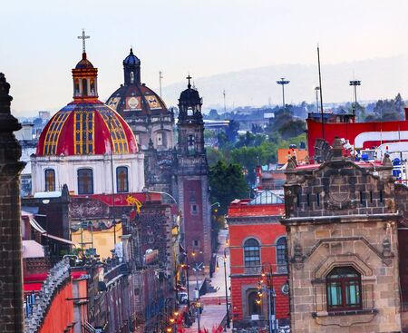 mexico culture: Zocalo Chruches Painted Domes Steeples Streets Center of Mexico City Mexico