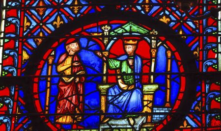 9th: King Advisor Medieval Life Stained Glass Saint Chapelle Paris France.  Saint King Louis 9th created Sainte Chapelel in 1248 to house Christian relics including Christs Crown of Thorns.  Stained Glass created in the 13th Century and shows various biblical