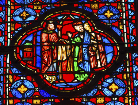 9th: King Queen Stained Glass Saint Chapelle Paris France.  Saint King Louis 9th created Sainte Chapelle in 1248 to house Christian relics including Christs Crown of Thorns.  Stained Glass created in the 13th Century and shows various biblical stories along w