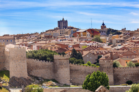 spain: Avila Ancient Medieval City Walls Castle Swallows Castile Spain.  Avila is described as the most 16th century town in Spain.  Walls created in 1088 after Christians conquer and take the city from the Moors