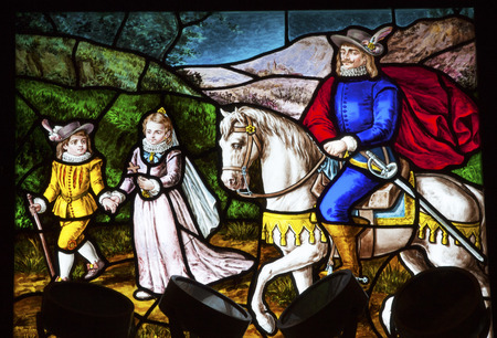 Nobles Pilgrimage Stained Glass Convento de Santa Teresa Basilica Altar Dome Avila Castile Spain.  Convent founded in 1636 for Saint Teresa, Catholic nun, Counterreformation author, and Spanish mystic, who founded the Carmelite order. Died in 1582 and mad Editorial