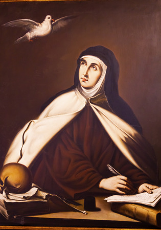 Saint Teresa Painting Convento de Santa Teresa Avila Castile Spain.  Convent founded in 1636 for Saint Teresa, Catholic nun, Counterreformation author, and Spanish mystic, who founded the Carmelite order. Died in 1582 and made a saint in 1614. Editorial